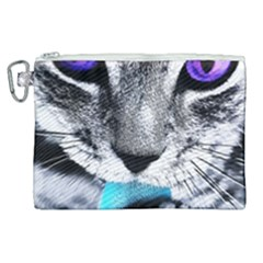 Purple Eyes Cat Canvas Cosmetic Bag (xl) by augustinet