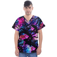 Star Field Tree Men s V Neck Scrub Top