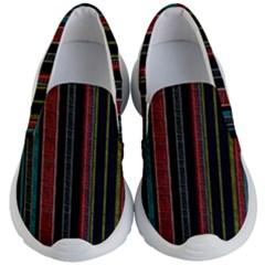 Multicolored Dark Stripes Pattern Kid s Lightweight Slip Ons