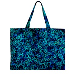 Teal Leafs Zipper Mini Tote Bag by augustinet