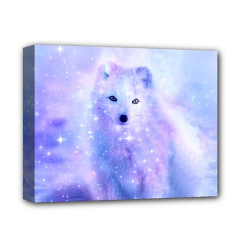 Arctic Iceland Fox Deluxe Canvas 14  X 11  by augustinet