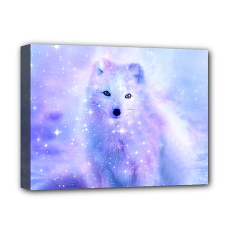 Arctic Iceland Fox Deluxe Canvas 16  X 12   by augustinet