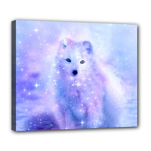 Arctic Iceland Fox Deluxe Canvas 24  X 20   by augustinet