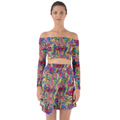 Colorful 12 Off Shoulder Top With Skirt Set