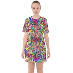 Colorful 12 Sixties Short Sleeve Mini Dress