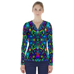 Colorful 13 V Neck Long Sleeve Top