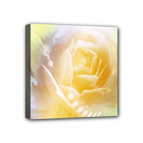 Beautiful Yellow Rose Mini Canvas 4  X 4  by FantasyWorld7
