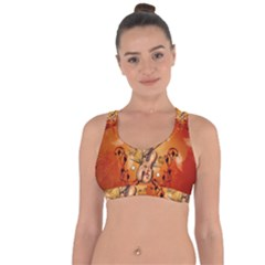 Violin With Violin Bow And Dove Cross String Back Sports Bra