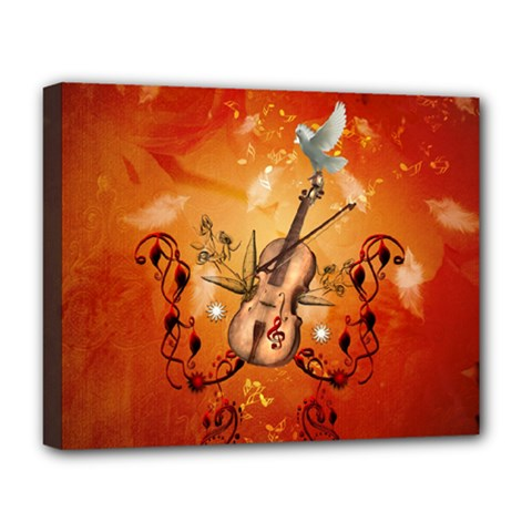 Violin With Violin Bow And Dove Deluxe Canvas 20  X 16   by FantasyWorld7