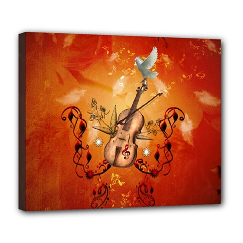 Violin With Violin Bow And Dove Deluxe Canvas 24  X 20   by FantasyWorld7