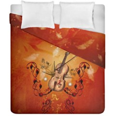 Violin With Violin Bow And Dove Duvet Cover Double Side (california King Size)