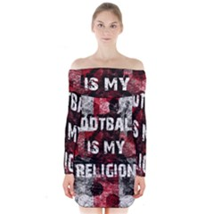 Football Is My Religion Long Sleeve Off Shoulder Dress by Valentinaart