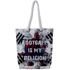 Football Is My Religion Full Print Rope Handle Tote (small)