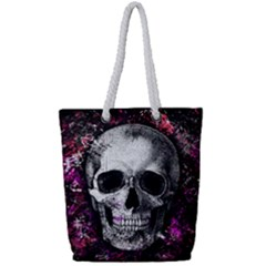 Skull Full Print Rope Handle Tote (small) by Valentinaart