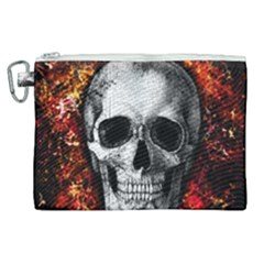 Skull Canvas Cosmetic Bag (xl) by Valentinaart