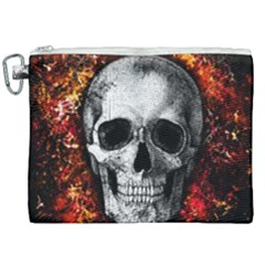 Skull Canvas Cosmetic Bag (xxl) by Valentinaart