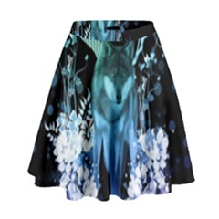 Amazing Wolf With Flowers, Blue Colors High Waist Skirt by FantasyWorld7