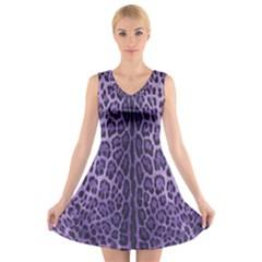 Purple Leopard V Neck Sleeveless Skater Dress