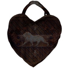 Wonderful Steampunk Lion With Floral Elements Giant Heart Shaped Tote by FantasyWorld7