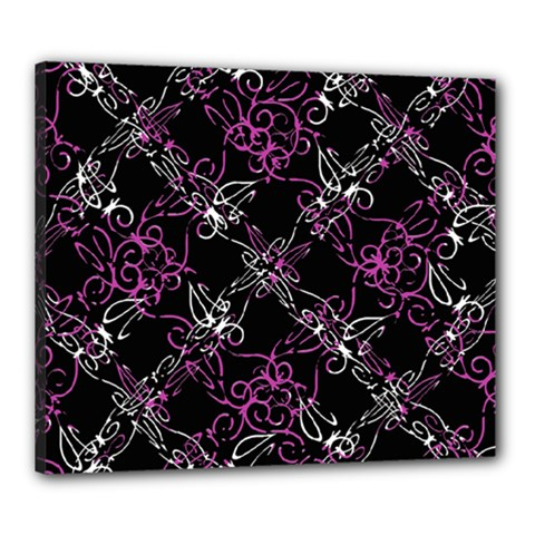 Dark Intersecting Lace Pattern Canvas 24  X 20  by dflcprints
