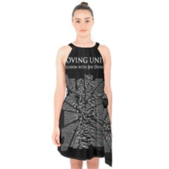 Moving Units Collision With Joy Division Halter Collar Waist Tie Chiffon Dress