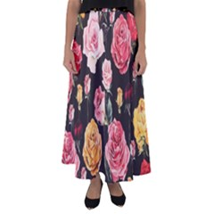 Colored Roses Flared Maxi Skirt