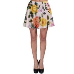 Colored Roses Print Skater Skirt