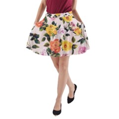 Colored Roses Print A Line Pocket Skirt
