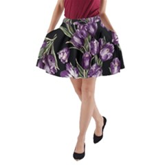 Purple Tulip Print A Line Pocket Skirt