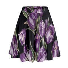 Purple Tulip Print High Waist Skirt by CasaDiModa