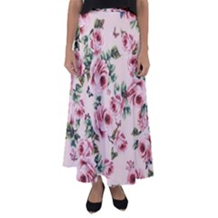 Rose And Butterflies Print Flared Maxi Skirt