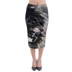 Angry Male Lion Digital Art Midi Pencil Skirt