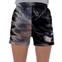 Angry Male Lion Digital Art Sleepwear Shorts