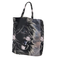 Angry Male Lion Digital Art Giant Grocery Zipper Tote