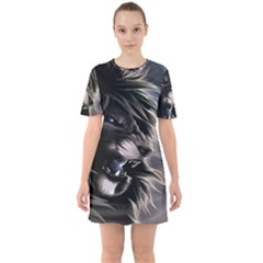 Angry Male Lion Digital Art Sixties Short Sleeve Mini Dress