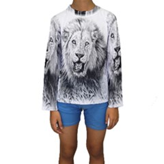 Lion Wildlife Art And Illustration Pencil Kids  Long Sleeve Swimwear