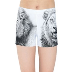 Lion Wildlife Art And Illustration Pencil Kids Sports Shorts