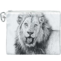 Lion Wildlife Art And Illustration Pencil Canvas Cosmetic Bag (xxxl) by Samandel