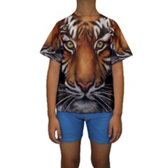 The Tiger Face Kids  Short Sleeve Swimwear