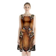 The Tiger Face Sleeveless Waist Tie Chiffon Dress