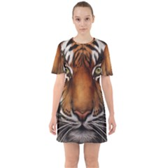 The Tiger Face Sixties Short Sleeve Mini Dress