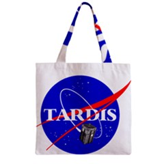 Tardis Nasa Parody Zipper Grocery Tote Bag by Samandel