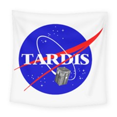 Tardis Nasa Parody Square Tapestry (large)