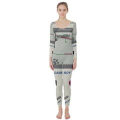 Game Boy White Long Sleeve Catsuit