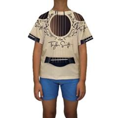 Classic Vintage Guitar Kids  Short Sleeve Swimwear