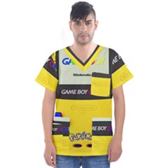 Game Boy Yellow Men s V Neck Scrub Top