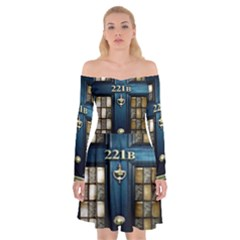 Tardis Sherlock Holmes 221b Off Shoulder Skater Dress