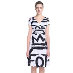 Save Rock And Roll Fob Fall Out Boy Short Sleeve Front Wrap Dress