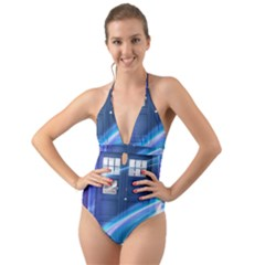 Tardis Space Halter Cut Out One Piece Swimsuit