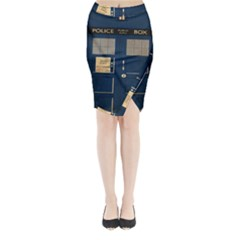 Tardis Poster Midi Wrap Pencil Skirt